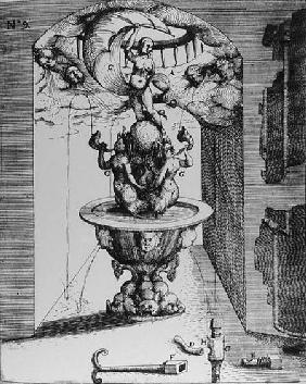 Ornamental fountain, from 'Architectura Curiosa Nova, by Georg Andreas Bockler (1617-85)