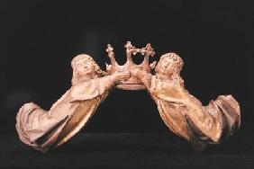 A pair of flying angels supporting a crown