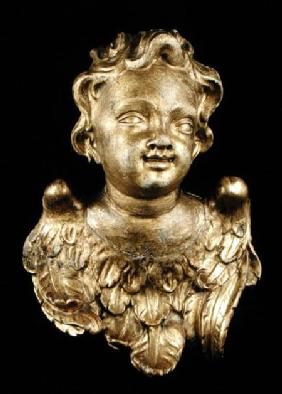 Putti head with wings