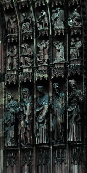 Sculptural detail from the right-hand side of the central portal, west facade