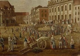Street performers in the Alter Markt, 1771 (detail from 330438)