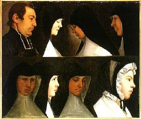 Study of Nuns, a Novice and an Abbot