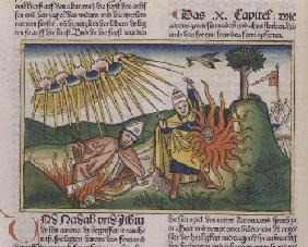 Leviticus 10 1-2 Nadab and Abihu offer unholy fire and die (coloured woodcut)