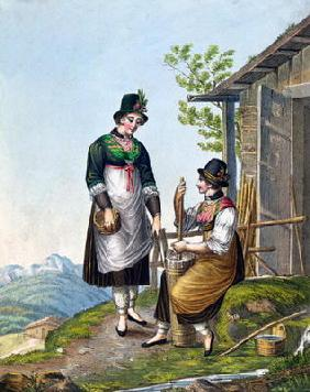 Dairymaids in the Alps near Tegernsee, early 19th century (colour engraving)