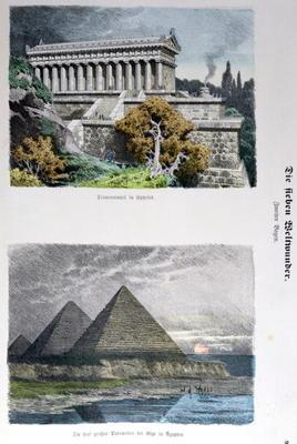 Temple of Diana at Ephesus and the Pyramids of Giza, from a series of the 'Seven Wonders of the Worl