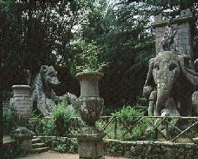 One of Hannibal's elephants and a dragon fighting with a lion, sculptures from the Parco dei Mostri