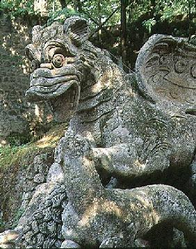 Dragon attacking lion, detail, sculpture from the Parco dei Mostri (Monster Park) gardens laid out b
