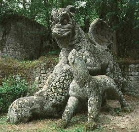 Dragon fighting a lion, sculpture from the Parco dei Mostri (monster park) gardens laid out between