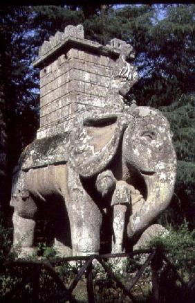 A Gigantic Sculpted Elephant, from the 'Parco dei Mostri' (Monster Park) gardens laid out between 15