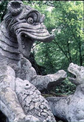 Monsters fighting, stone sculpture in the Parco dei Mostri (Monster Park), gardens laid out between