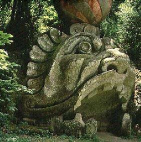 Mouth of a fantastical cave in the form of a monster's head, from the Parco dei Mostri (Monster Park