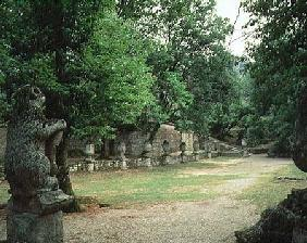 View of the Xisto with heraldic bears and acorns, from the Parco dei Mostri (Monster Park) gardens l