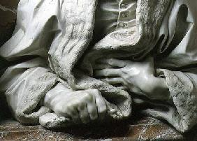 Bust of Gabrielle Fonseca (doctor of Pope Innocent X) detail of hands clutching robe, from the Fonse