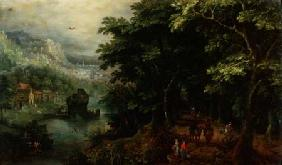 Landscape with figures in an avenue