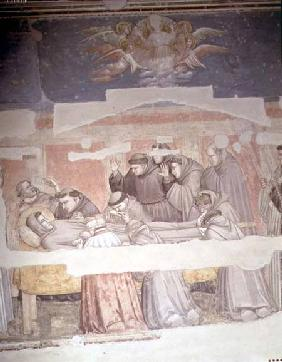 The Death of St. Francis, detail of bier, from the Bardi chapel