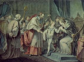 Richard, Duke of York, taking leave of his Mother, Elizabeth Woodville, in the Sanctuary, Westminste