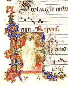 Ms 561 f.1r Historiated initial 'R' depicting St. Eligius, from a gradual from the Monastery of San