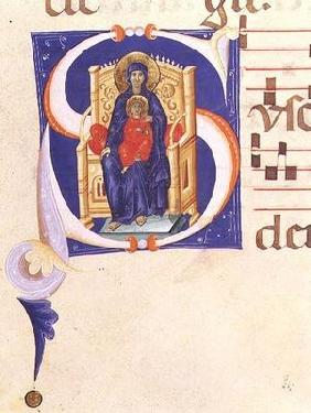 Ms 562 f.16r Historiated initial 'S' depicting the Madonna and Child enthroned, from a gradual from