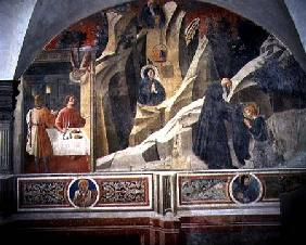 St. Benedict Receiving Bread and a Cloak from the Hermit Romano detail from the fresco cycle of the