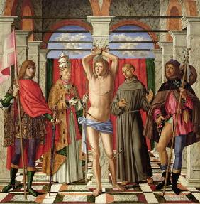 Saint Sebastian with Saints Liberale, Gregory, Francis and Roch (oil on panel)
