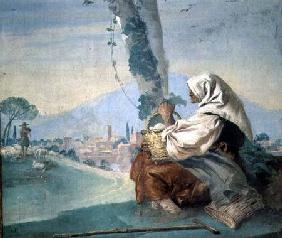 Old Peasant Woman with a Basket of Eggs from the 'Foresteria' ( 1757