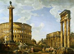Roman Capriccio Showing the Colosseum, Borghese Warrior, Trajan's Column, the Dying Gaul, Tomb of Ce