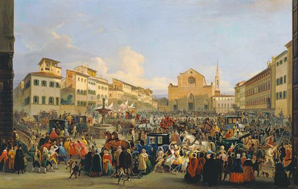 View of Piazza Santa Croce on the occasion of a carnival