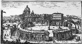 Bernini''s original plan for St. Peter''s Square, Rome