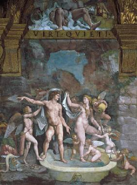 Mars and Venus bathing, aided by Cupid and putti from the Sala di Amore e Psiche
