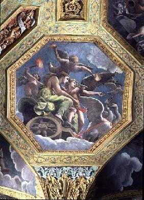 Venus and Cupid in a chariot drawn by swans, ceiling caisson from the Sala di Amore e Psiche
