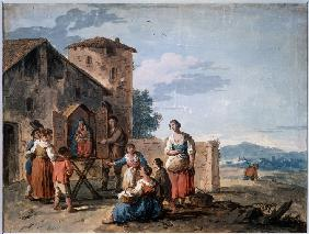 A group of peasants before the tabernacle with the Standing Madonna statue