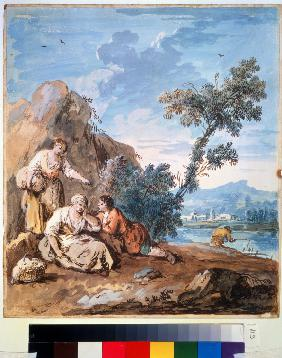 Three peasants resting on a river bank