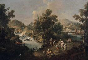 Landscape with a River and Dancing Peasants