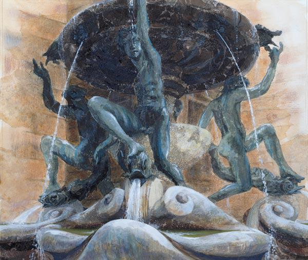 Fountain of the Tortoises, Rome, 1983 (w/c and gouache on paper)