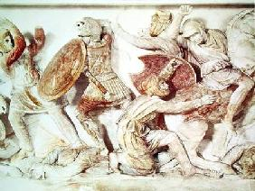 The Alexander Sarcophagus depicting a battle scene