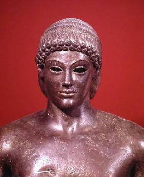 The Apollo of Piombino, detail of the head of the statue, found in Benevento, Greek