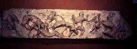 Greeks Fighting Persians, detail of a sculptured frieze from the Temple of Athena Nike on the Atheni