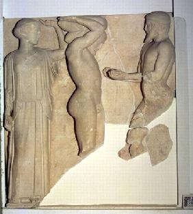 Metope X from the Temple of Zeus depicting Hercules Receiving the Golden Apples of the Hesperides fr