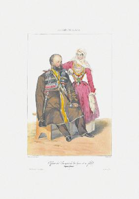Terek Cossack with Daughter (From: Scenes, paysages, meurs et costumes du Caucase)