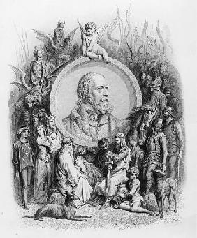 Frontispiece to ''Idylls of the King'' with a portrait of Alfred, Lord Tennyson