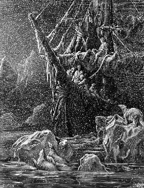 Ship in Antartica, scene from ''The Rime of the Ancient Mariner'' S.T. Coleridge,S.T. Coleridge, pub