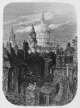 St. Paul''s Cathedral and the slums, from ''London, A Pilgrimage''