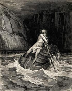Arrival of Charon. Illustration to the Divine Comedy by Dante Alighieri