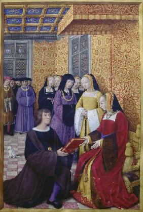 The Poet Jean Marot hands out his opus to Anne of Bretagne (Jean Bourdichon in Le voyage de gênes)