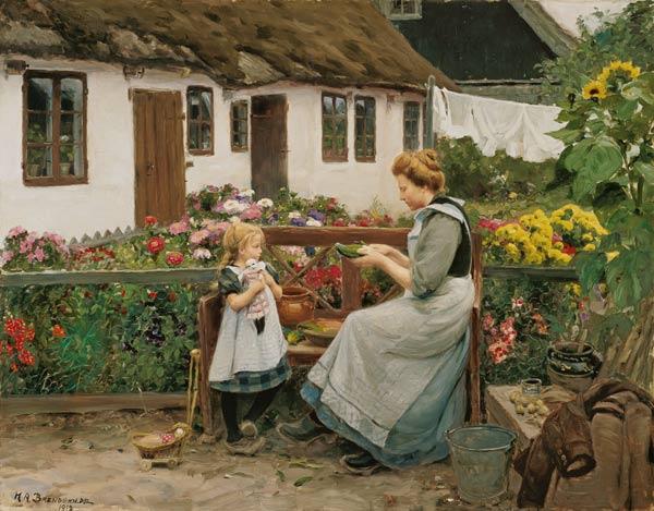 At the garden bank. - Hans Andersen Brendekilde as art ...