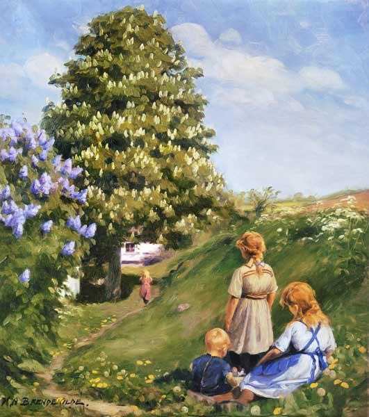 Playing children in spring landscape.