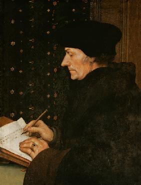 Erasmus of Rotterdam at the writing desk