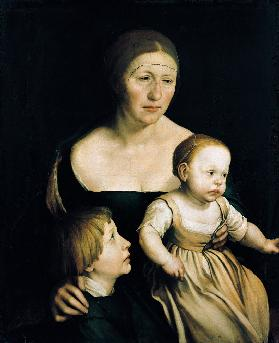 Family picture. The wife of the artist with the two older children