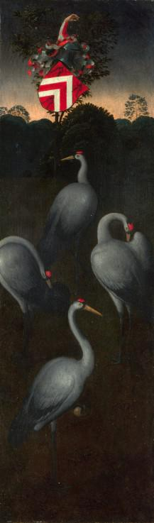 Cranes with the coat of arms of the Pagagnotti family (The reverse of a Panel from a Triptych)