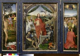 Resurrection altar, triptych (hl. Sebastian, resurrection, Ascension Day)